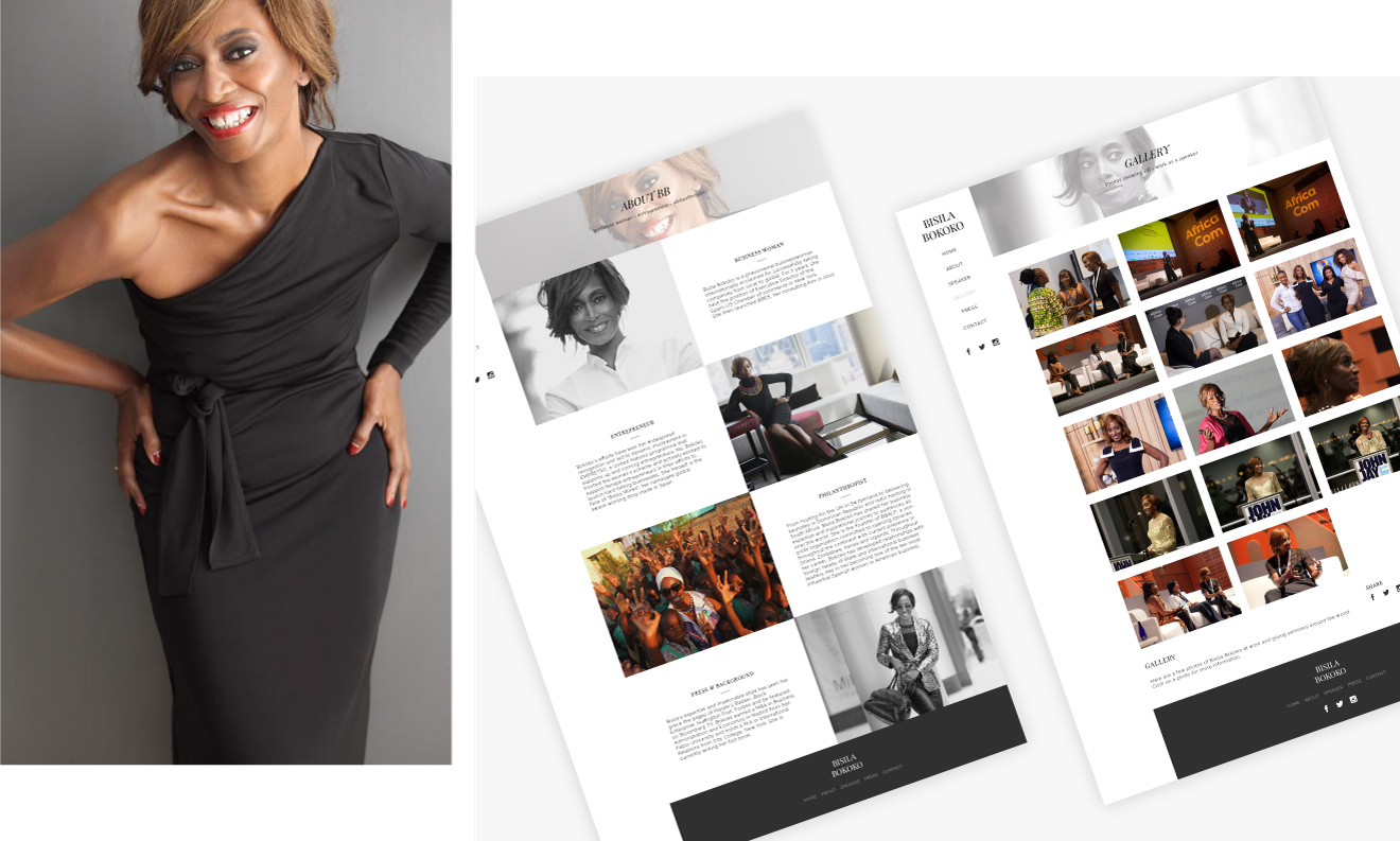 Bisila Bokoko - client of Tapat web agency and creative digital agency - web design pictures