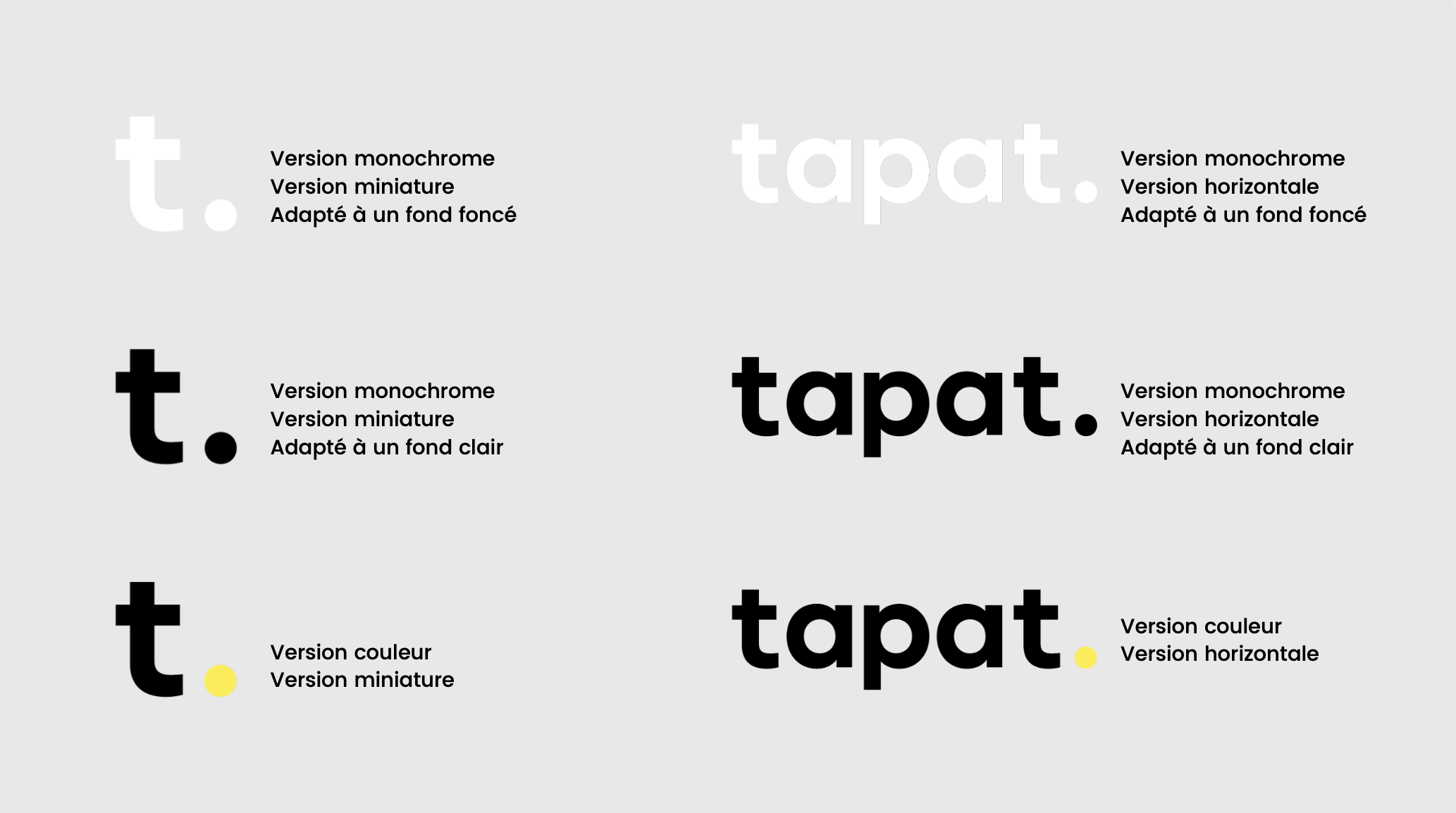 déclinaison logo - fond clair / fond foncé / monochrome / couleur