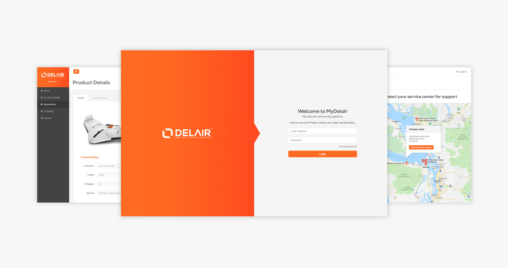 Delair - client of Tapat web agency and creative digital agency - UI UX user interface and experience design screens for web app mydelair