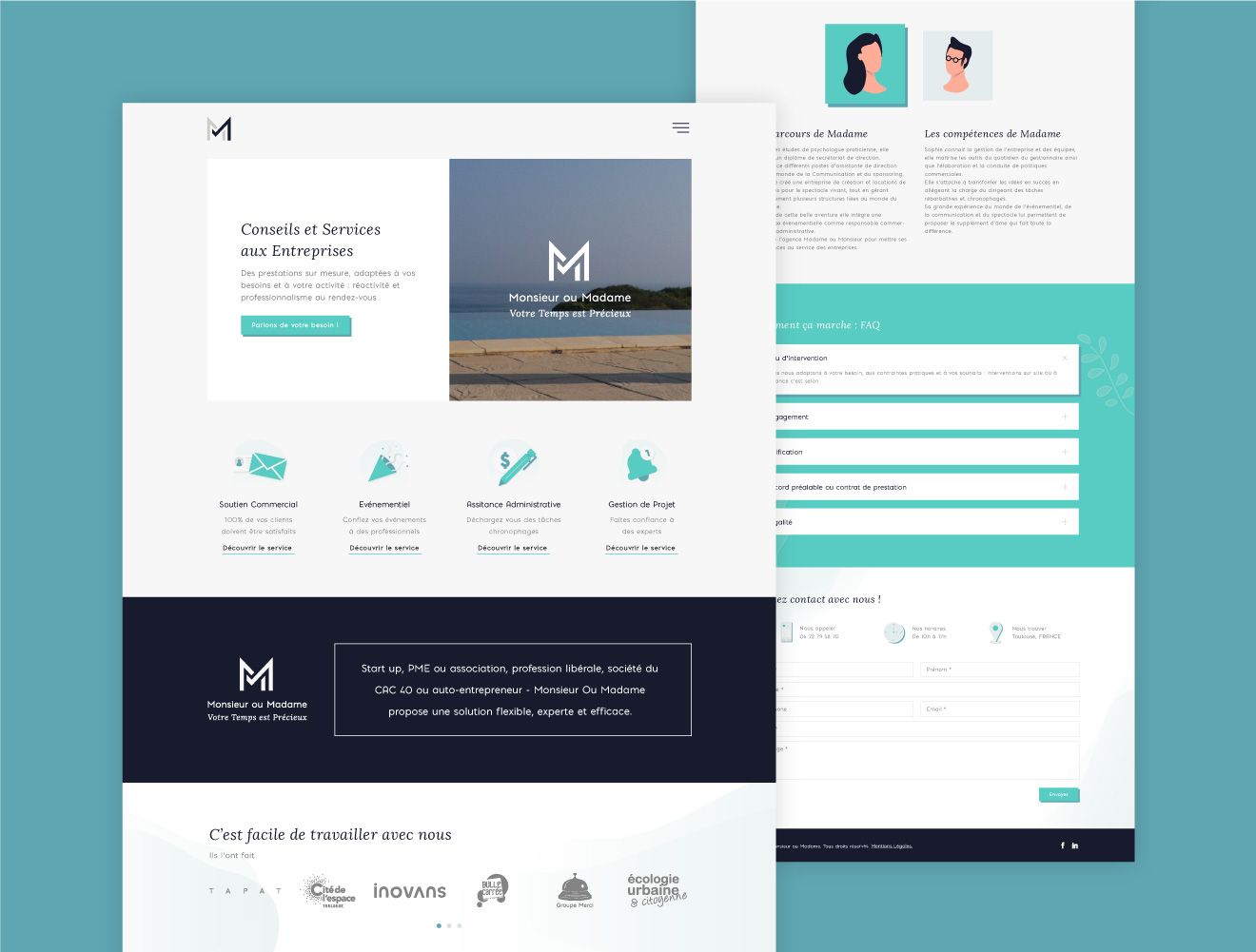 Monsieur ou Madame - client of Tapat web agency and creative digital agency - web design screens