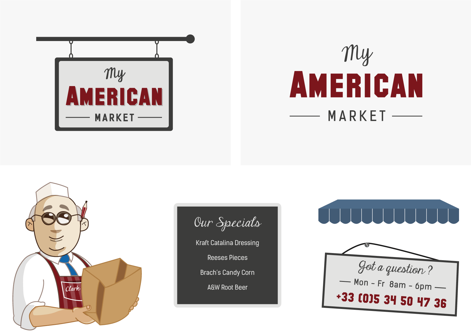 My American Market - client of Tapat web agency and creative digital agency - logo variations and illustration for branding