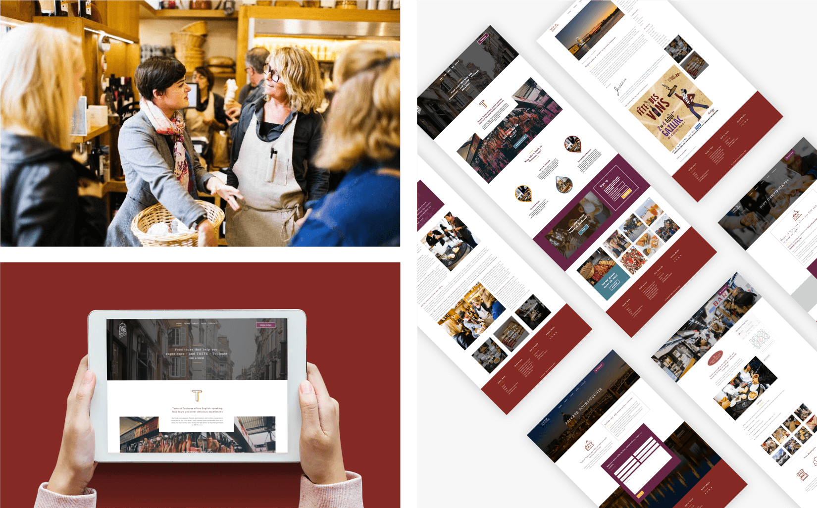 Taste of Toulouse - client of Tapat web agency and creative digital agency - web design screens